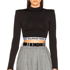 Balmain Knit Logo Crop Top